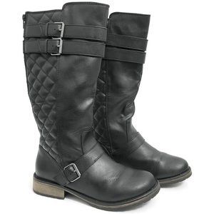 Steve Madden Quilted Black Riding Boots SZ0321